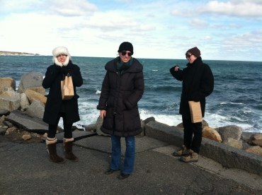 Bundled up against the cold in Rockport, MA