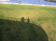 Making shadow art from the art museum deck. Looks like we are on a ship!