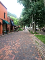 Brick pedestrian walk, Aspen, CO