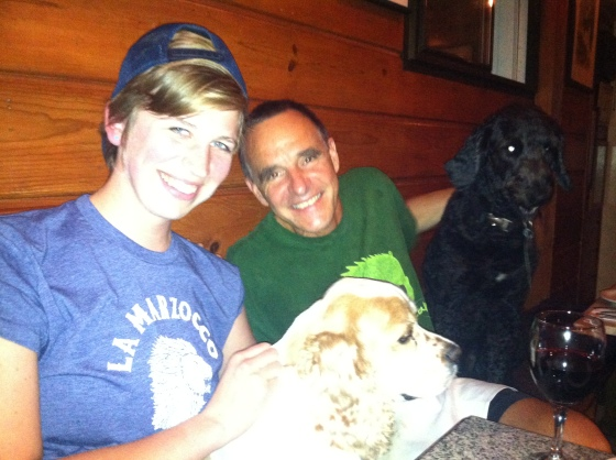 Alicia with Brad, Fin and Lucky