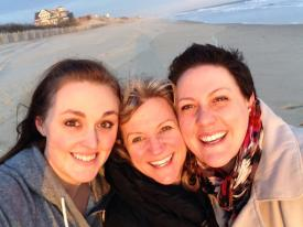 Caitlin, Me and Josie, such a lovely team, on the beach down the street.
