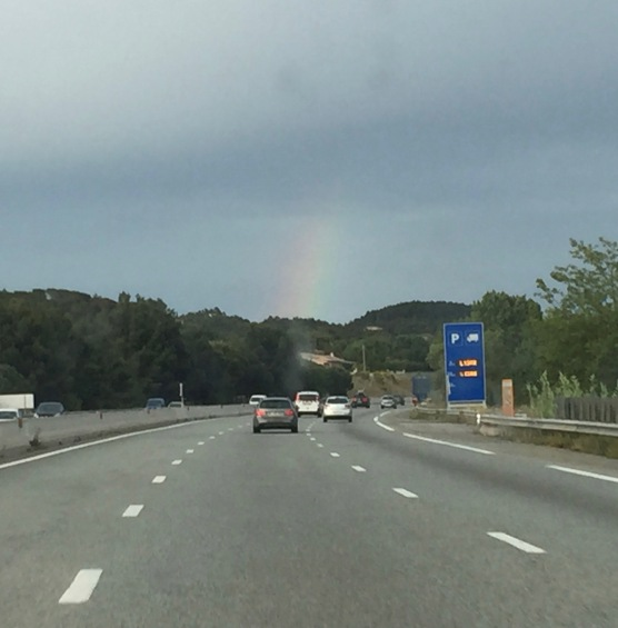Driving into Cannes under a rainbow
